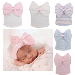 Wholesale Crochet Bonnets - 5 colors Newborn Baby Big butterfly Stripe Crochet hats hospital warm caps Beanies girls bow knitted hat cap accessories photography bonnet