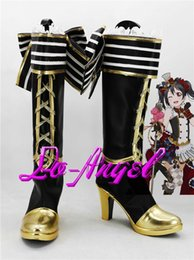 2021 amore cosplay live cameriera All'ingrosso-Anime Love Live! Nico Yazawa Maid Cosplay Party Shoes Stivali neri e dorati su misura