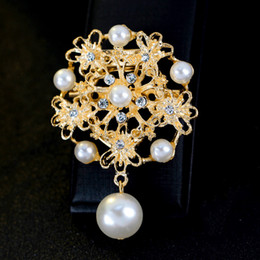 mexican long dresses Promo Codes - Elegant Women Pearl Dangle Long Brooch Pins Vintage Flower Rhinestone Brooches Dress Jewelry scarf buckle Accessories Christmas Gift