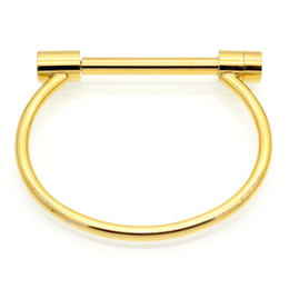 Wholesale Stainless Steel Shackles For Bracelets - Fashion Shackle Screw Bracelet Cuff 18K Rose Gold Bangle Stainless Steel Bangles Bracelets For Women Love Bracelet Wholesale