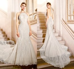 Wholesale Halter Lace Mermaid Wedding Gowns - White Halter Full Lace Wedding Dresses 2016-2017 Lace Mermaid Sweep Train Bridal Gowns Hollow Back Wedding Dresses Custom Made