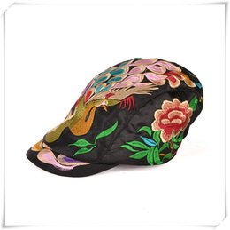 Wholesale Sun Cap China - knit hat Fashion hat folk style duck tongue Hat Lady peacock China traditional handmade hat peaked cap