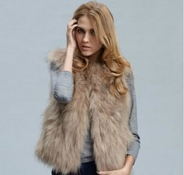 Wholesale Knit Vest Fur Collar - womens natural fur vest with raccoon fur collar waistcoat jackets knitted winter