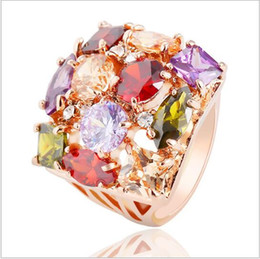 Wholesale European Flowers Pattern - European Style Flower Pattern Exaggerated Ring Unique Real 18K Rose Gold Plated Austrian Crystal Women Rings 23*17mm