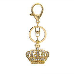 Wholesale Rhinestone Crown Keychain - 2016 Hot Retail And Wholesale Crystal Rhinestones Keychain Luxury Gold Plating Crown Key chain Keyring Free Shipping