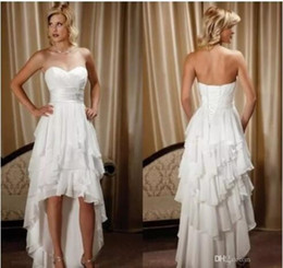 Wholesale chiffon asymmetrical wedding dress beach - New Arrival Short Front Long Back Sweetheart Chiffon High Low Country Western Wedding Dresses