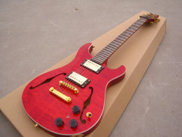 Wholesale Custom Quilts - OEM Guitar New Arrival RPS custom electric guitar, see thru red,quilt flame body top, F hole,gold parts!