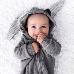Wholesale Long Sleeve Suit Romper - INS Europe and America New styles children's pure cotton long sleeves Big ears Bunny romper Hooded zipper climbing suit free shipping