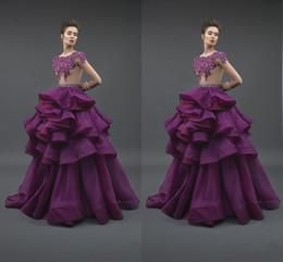 Wholesale Ivory Silk Petals - 2018 New Purple Ruffles Prom Dress Vestidos De Festa Longo Custom Made Party Gowns Lace Satin Formal Evening Dresses