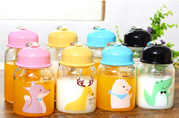 Wholesale Animal Mugs - 400ml High borosilicate glass Bottle cup transparent cute cartoon animal colorful lid water cup 5 style coffee mugs in stock