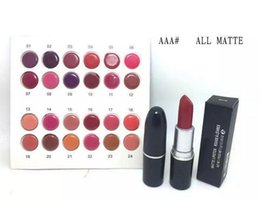 Wholesale Lipstick Red Color - lowest price New Arrivals hot makeup matte lustre lipstick 3g with name 24 color