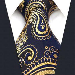 Wholesale Grey Neckties - U10 Multi-color Gold Blue Navy Paisley Mens Tie Neckties Jacquarhsia Dark Gray Grey Mens Ties 100% Silk Jacquard Woven