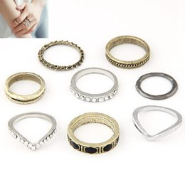Wholesale Armour Rings - 8pcs Set Hot Vintage Gold Silver plated Crystals Full Finger Rings Armour Knuckle Rings Linked Rings For Women