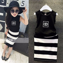 Wholesale Girls Pattern Dresses - new pattern fashion movement summer dress girls clothes baby black and white striped dress children Clothing