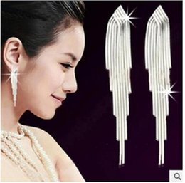 Wholesale Silver Earring Pure - Han edition fashion new S925 pure silver earrings Super long tassel earrings exaggerated temperament tremella ear line