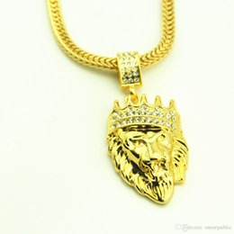 Wholesale Golden Crown Necklace - High quality 18K Gold Plated mens Hip hop Lion head crown Rhinestone necklace Rap Golden King lion Pendants kings Snake Chain Necklace Men