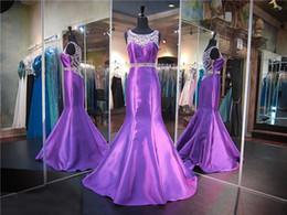Wholesale Hunter Matte Satin - Purple Matte Satin Mermaid Prom Dress Crystals on Neckline and Back Train Evening Dress Illusion Back Beading Pageant Dress