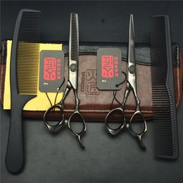Wholesale Hair Colour Set - 4Pcs Set 9001# 6'' 17.5cm Black Colour Hairdressing Shears Combs + Cutting + Thinning Professional Human Hair Scissors Suit