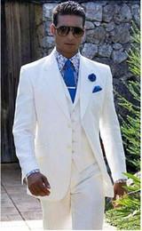 Wholesale Custom Wedding Linens - Beach Linen White Men Wedding Suits Casual Notched Lapel Groom Tuxedo Men Slim Fit jacket+pant+vest+tie perfume masculino