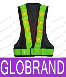 Wholesale Clothing Article - 16 LED Light Up Safety Vest With Reflective Stripes Kevlar Tactical Vest Neon lime V clothing Safety Belt Article Printing A5 NEW 751