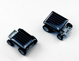 Wholesale Mini Solar Toys - 200pcs lot # Mini Smallest Solar Powered Robet Racing Car Moving Drive Car Fun Gadget Toy For Kids