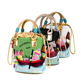 Wholesale Sew String - New 17927009 cool Personality PU funny pinkycolor creative canvas bucket bag Patchwork outdoor Hand sewn handmade hand bag