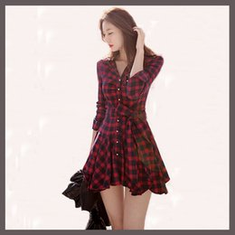 Wholesale Short Pleated Plaid Skirt - Hot Sales Elegant Vintage Long Sleeve Sashes Women's Plaid Dress Slim Waist Button Winter Women Short Red Casual Mini Dresses Bodycon Skirt