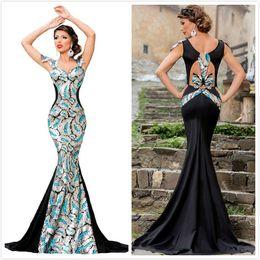 Wholesale Embellishments For Dresses - 2016 New Sequin Embellishment Elegant Mermaid Evening Gown For Women Short Sleeve Low Neck Bow Long Party Dresses Maxi Celebrate Dress 60844