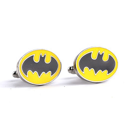 Wholesale Hot Suits For Men - 2016 Price High Quality Batman Suit Shirt Novelty Cufflink For Men Enamel CuffLink Hot Selling Discount Cufflink Free Shippingzj-0903657