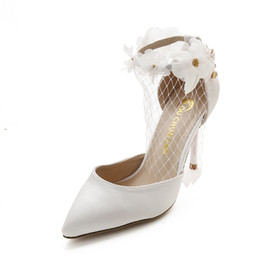 Wholesale White Sandal Heels Flowers - Adult Sandals white wedding shoes lace flower bridal shoes pointed toe pearl rhinestone thin high heels formal dress shoes