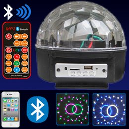 Wholesale Disco Speakers - Bluetooth led crystal magic ball light MP3 music speaker led home party disco light with USB player and remote control