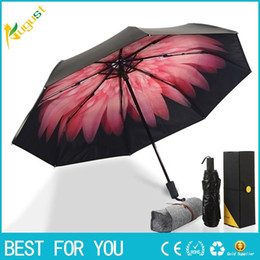 Wholesale Double Parasol Umbrella - New hot Sky garden series Folding sun umbrella Women Parasol double umbrella folding umbrella banana Daisy black UV glue