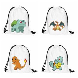 Wholesale Drawstring Backpack Mix - DHL Cartoon Poke Go Print Drawstring Bags Mixed 4 Desings Squirtle Charmander Bulbasaur Charizard Backpack Infantil Mochila School Bags