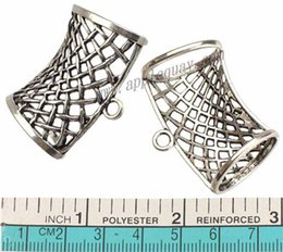 Wholesale Wholesale Charms For Scarves - diy silver beads for wrap scarfs bails charms pendants connector cross hollow oval large hole curve metal winter scarves findings 40mm 30pcs