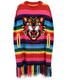 Wholesale Sweater Rainbow Woman - 2017 Autumn Cat Head Pattern Rainbow Striped Knitwear Women's Embroidered Sequins Knitted Top Sweater Fashion Design Knit Cape Tassel Cloak