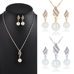 Wholesale Pearl Necklace Set Gold Plated - Mix Lot Brand New Necklace Fashion Women Jewelry Sets Gold Plated Pearl Pendant Wedding Necklace Earrings