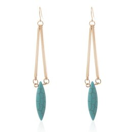 Wholesale Long Turquoise Earrings - Women Fashion Oval Turquoise Stone Dangle Earrings for Party European Gold Long Earring For Gift Jewelry Lots 12 Pairs