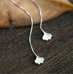 Wholesale Long 925 Sterling Silver Chains - New 2017 Women 925 Sterling Silver Leaf Chain Drop Earring Ginkgo Biloba Long Earrings For Wedding Girl Fashion Jewelry
