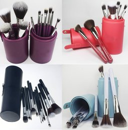 Wholesale Makeup Brushes Cup Leather - Brushes Set Cup Kits Blending Brushes Travel Kit Foundation Concealer Powder Face Brush Leather Case Makeup Tool
