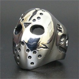 Wholesale Steel Skull Face Mask - 5pcs lot size 8-13 Number 13 Skull Mask Ring 316L Stainless Steel Fashion Jewelry Men Boy Punk Skull Ring