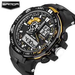 Wholesale Men Leather Watch Dual - 2017 SANDA Luxury Brand Super Cool Men's Quartz Digital Watch Men Outdoor Sports Watches LED Military dual watch digital analog