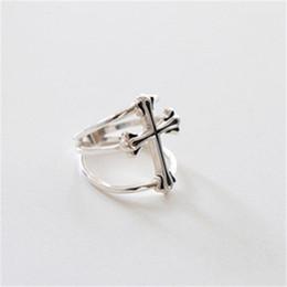 Wholesale Open Cross Ring - genuine sterling silver silver cross S925 original punk ring opening Korean jewelry