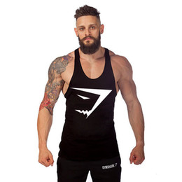 Wholesale Mens Gym Tops - New Brand Mens Gym Singlets Cotton Tank Tops Stringer Bodybuilding Equipment Fitness Men's GYM Clothing Sports gymshark t Shirt