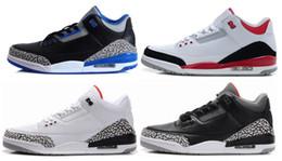 Wholesale Online Athletic - Wholesale 3 Basketball Shoes Black Cement Men Sports Shoes Men's Online Sneakers Outdoors Athletics Shoes Basketball Sneakers