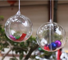 Wholesale Clear Plastic Xmas Balls - Clear Plastic Round Ball Wedding Candy Box Xmas Tree Ornament Decorations Gift Hang Ball Supplies 6 Sizes to choose free shipping