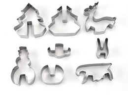 Wholesale Hot Cookies - Hot 8PCS  Set DIY Stainless Steel Bakeware 3D Christmas Cookie Cutter