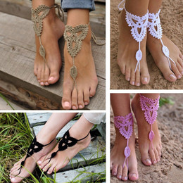 Wholesale Knit Sandals - Wholesale-2015 New 2 Pair Ornate Barefoot Sandals Beach Wedding Bridal Knit Anklet Foot Chain #81096