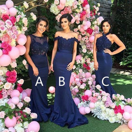Wholesale Long Different Style Bridesmaid Dresses - 2017 Mismatched Different Styles Mermaid Royal Blue Long Affordable Wedding Bridesmaid Dresses formal prom party gonws evening dresses