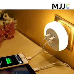 Wholesale Led Dusk Sensor - Mini Portable LED Night Lights Sensor and Dual USB Wall Plate hCharger with Dusk to Dawn Best Night Lights for Kids