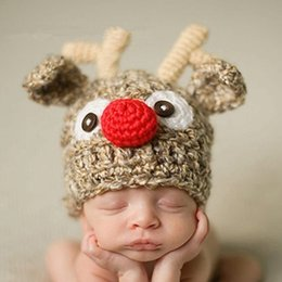 Wholesale Cute Babies Children Photo - Baby Christmas Hats Children Handmade Cute Newborn Baby girl Crochet deer beanie Hat Xmas Christmas gift,baby photo props